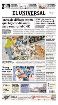 20/11/2019 PRIMERA PAGINA DEL UNIVERSAL DE VENEZUELA