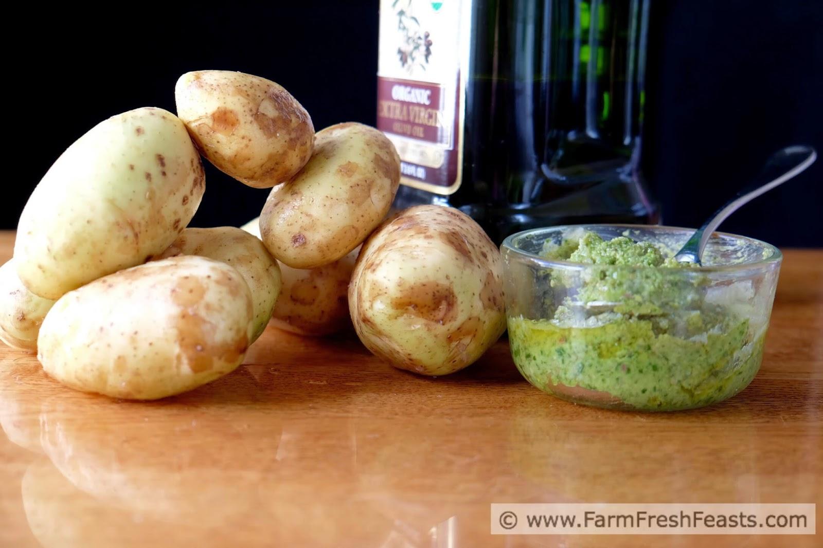 Grilled Garlic Scape Pesto Smashed Potatoes www.farmfreshfeasts.com