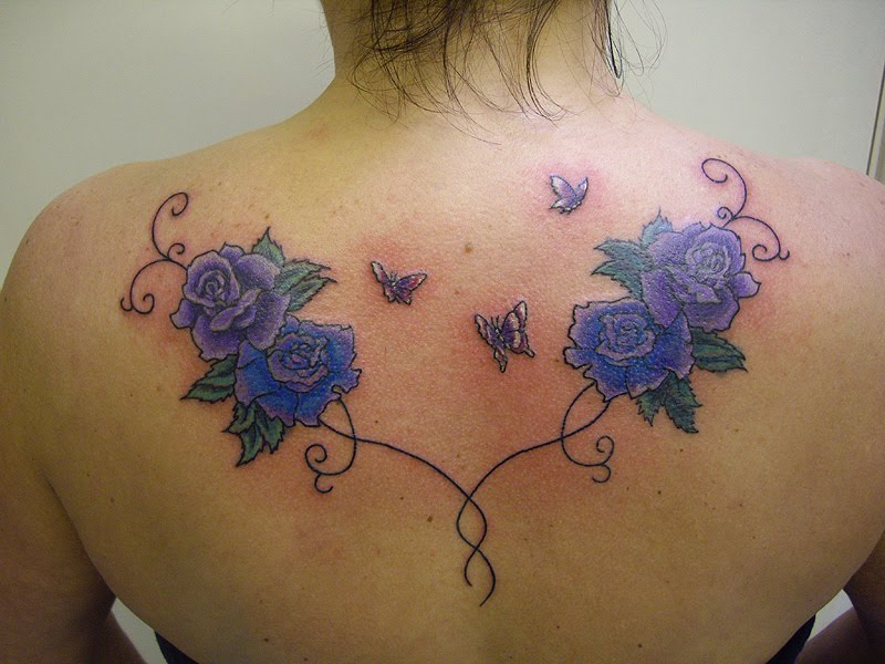 Feminine Floral Cover Up Tattoo Roses Butterflies On Shoulder