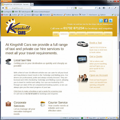 Screen shot of http://www.kingshillcars.com/services.htm.