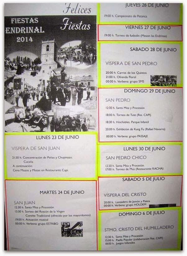 23/Junio. Fiestas Patronales de San Juan. Endrinal de la Sierra