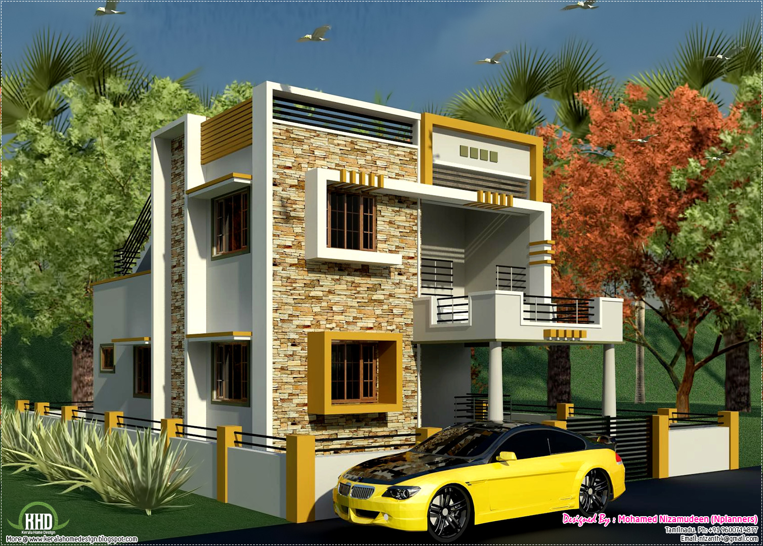 South indian style new modern 1460 sq feet house design for 2 bhk house plans south indian style