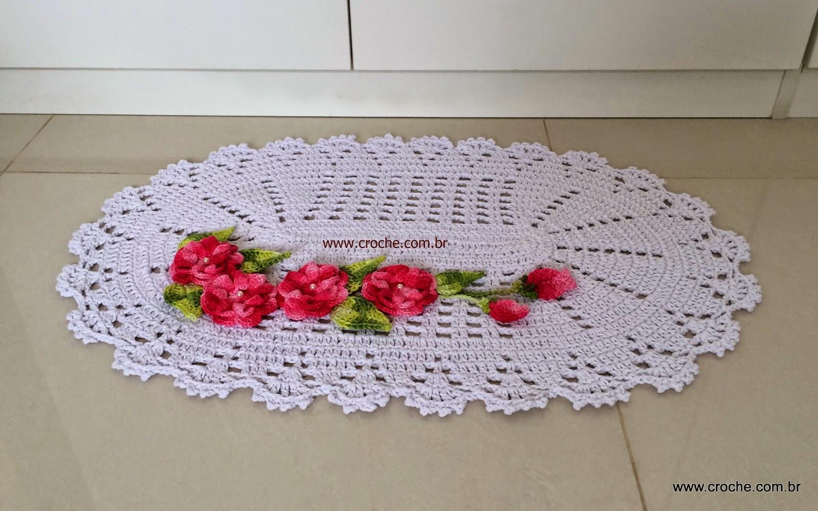 Tapete Oval Em Croch Com Aplica O De Flores Passo A Passo 1  -> Tapete De Croche Oval Simples Passo A Passo