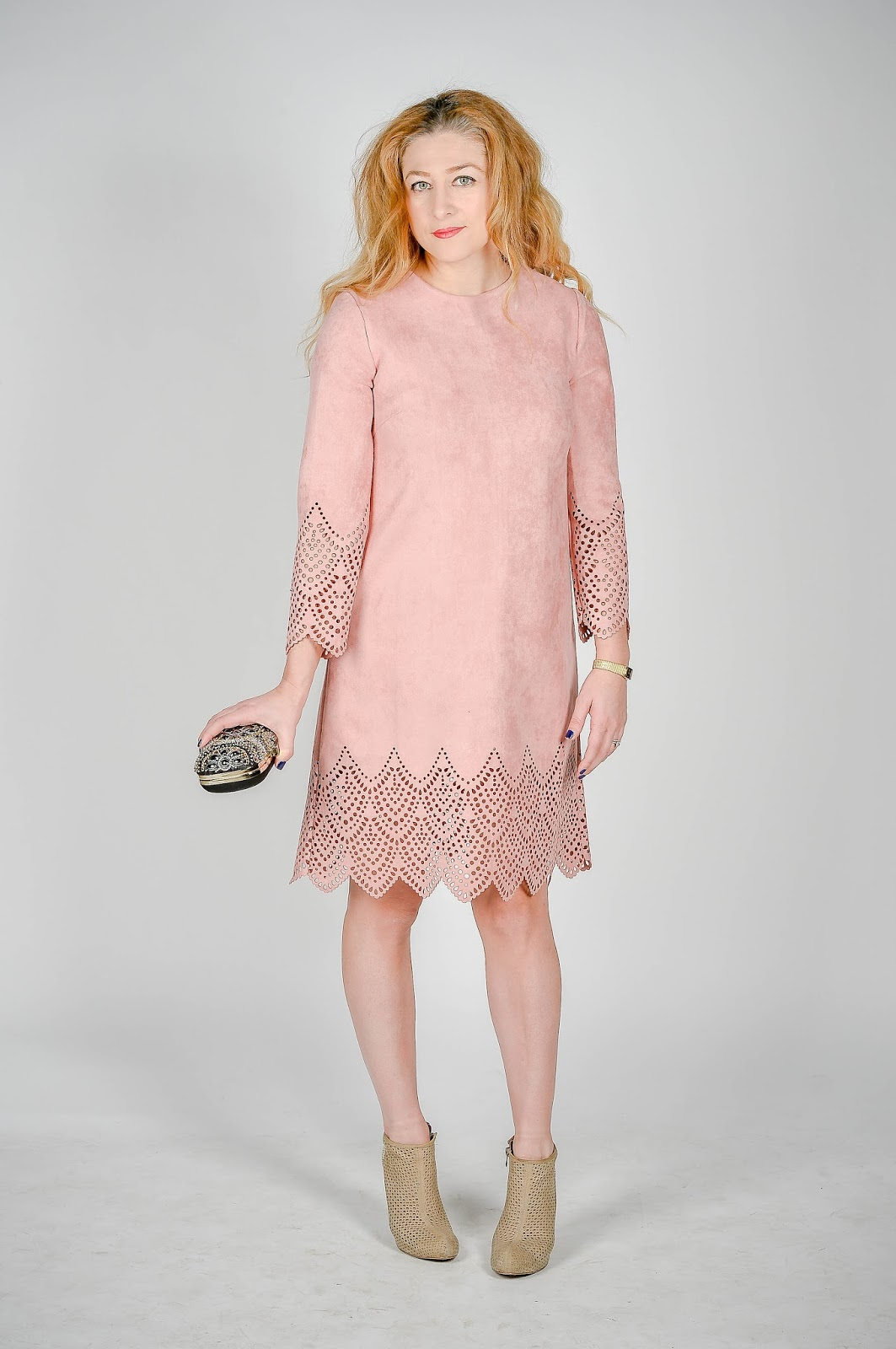 eyelet trimmed hemline dress