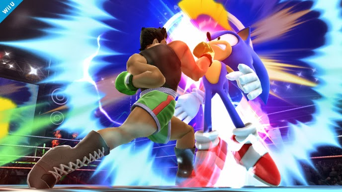 Screenshot of Little Mac fighting Sonic the Hedgehog in Super Smash Bros. for Wii U
