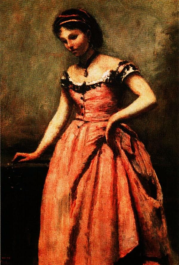 Камиль Коро. Молодая женщина в розовом платье. Конец 60-х гг. ХIХ в.