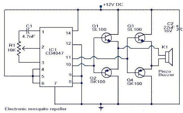 electronic mosquito repeller circuit