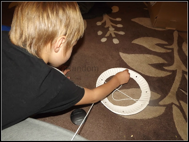 stringing the paper plate