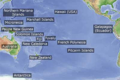 pacific ocean map with islands  The major island groups