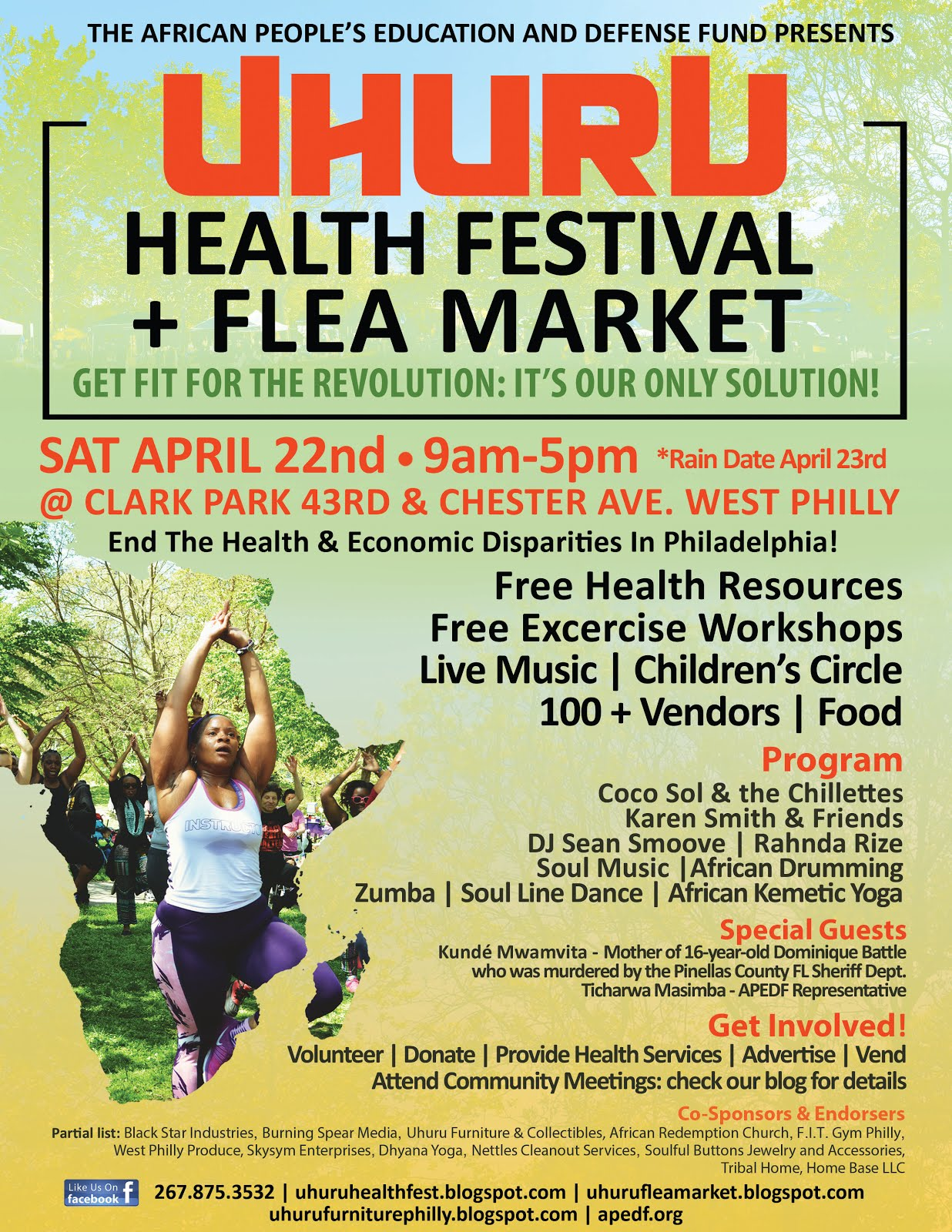 Don't Miss the Uhuru Health Festival & Flea Market Sat. April 22nd