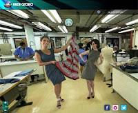 Andrea Beltrão e Fernanda Torres na sala de costura da Rede Globo
