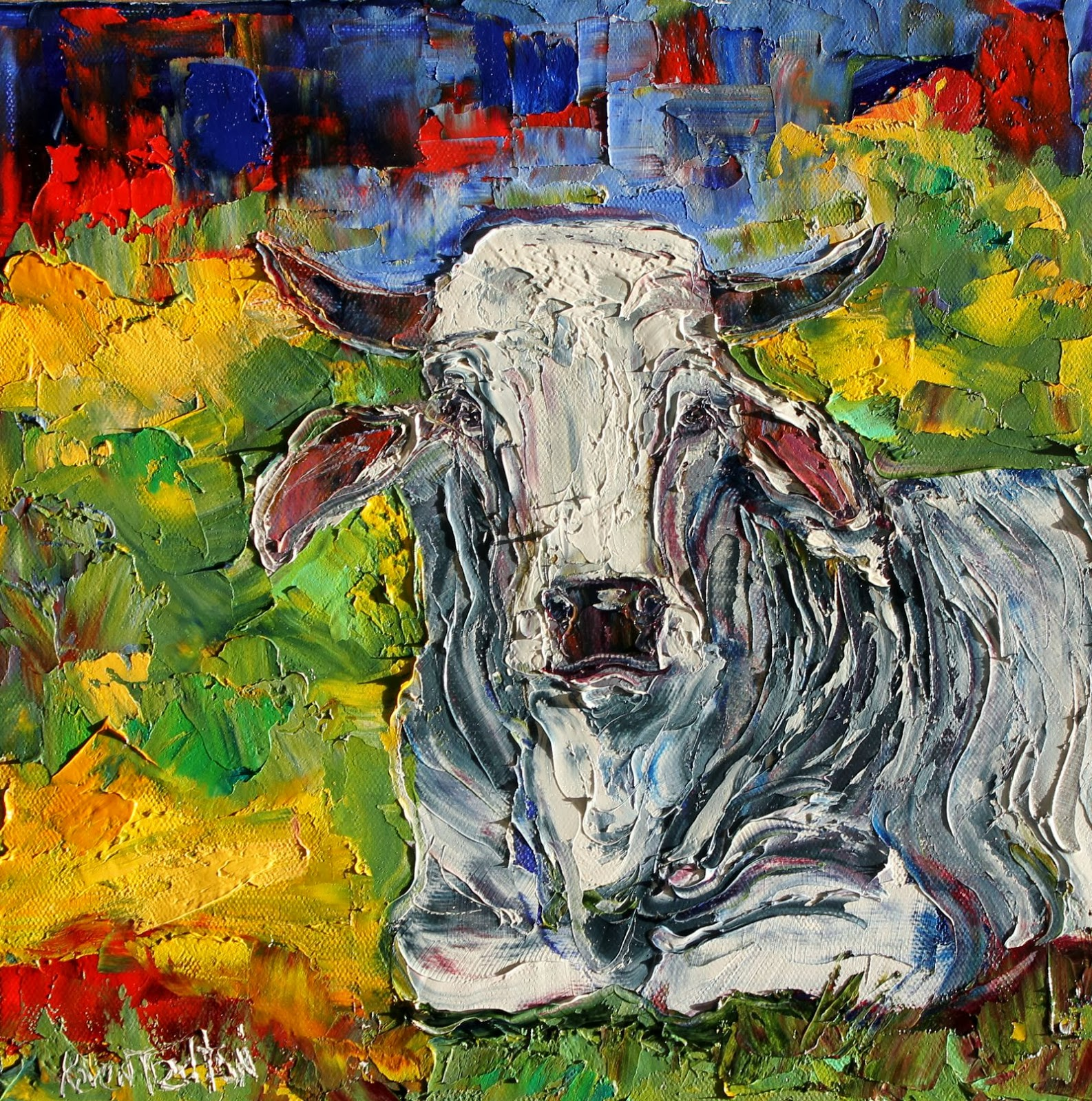 Karen tarlton original oil paintings farm animal cows and for Animal oil paintings