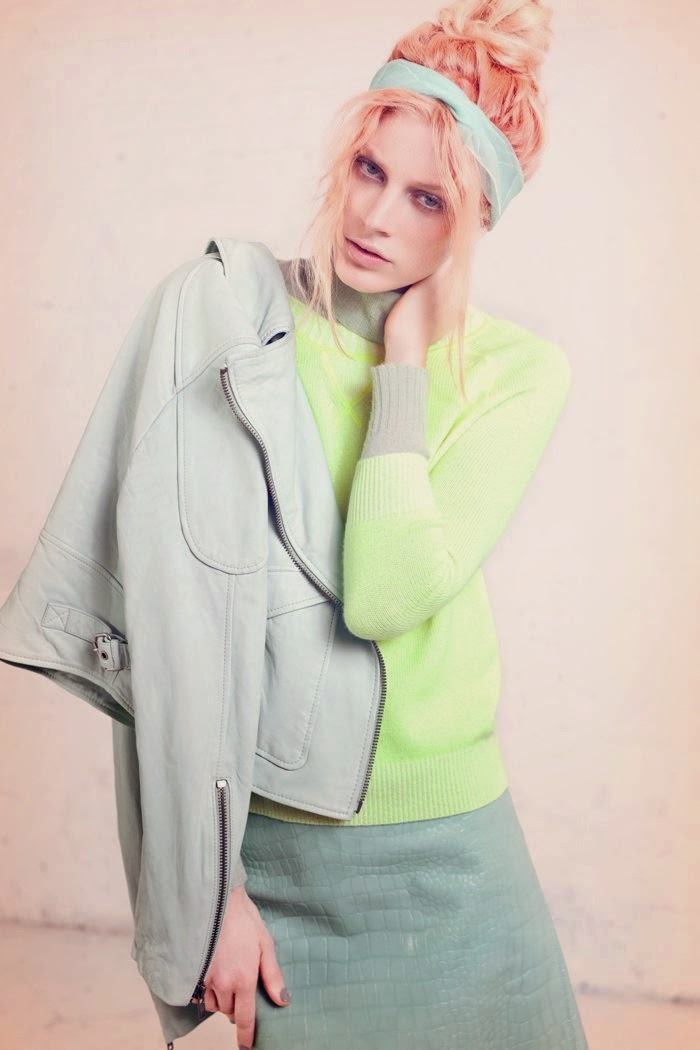 Dutch model Quinta Witzel wearing pastels in Nylon magazine editorial
