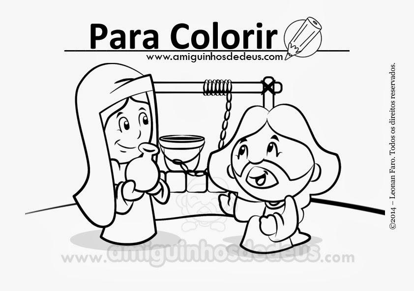 Jesus e a samaritana desenho para colorir
