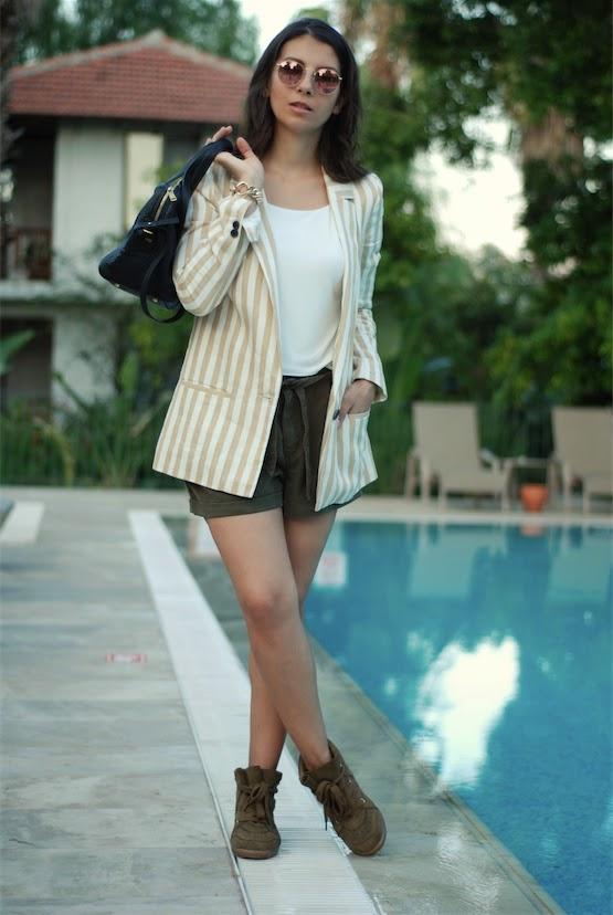 blogger style,streetstyle,trendydolap,zara jacket, stripe, short,ysl,isabel marant sneakers