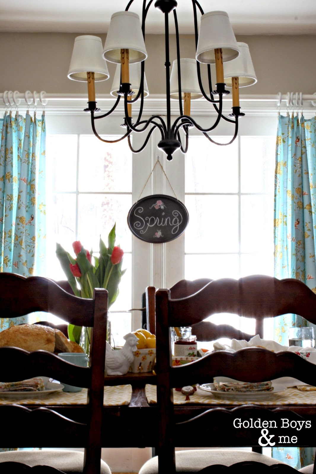World Imports Brondy chandelier in Spring Dining Room-www.goldeboysandme.com
