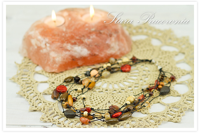 Korale, korale z naturalnymi kamieniami, korale ręcznie robione, biżuteria autorska, unikatowa biżuteria, hand made, rękodzieło