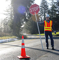 A WSDOT highway flagger in Thurston County