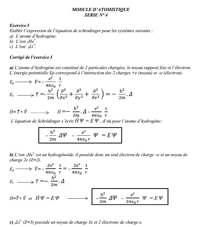 TD Atomistique: Série n° 4 + Corrigé SMPC S1 FST 14-15