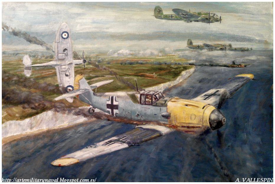 Tercera sesión óleo volando sobre Dover - Batalla de Inglaterra