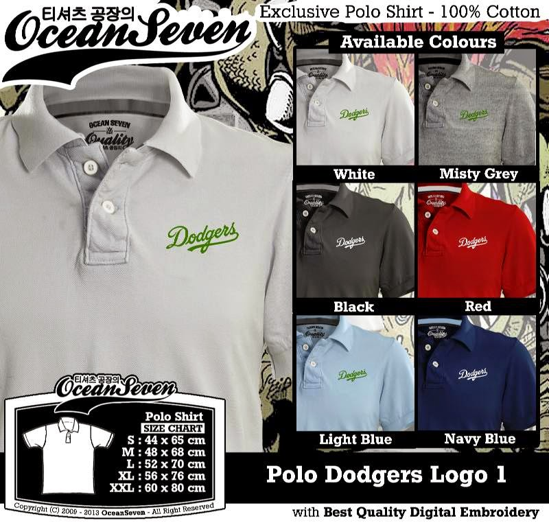 Kaos Polo Dodgers Logo 1