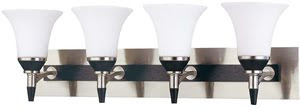 Nuvo 60-1754 Keen 4 Light Vanity With Satin White Glass Ebony & Brushed Nickel