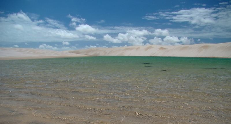 This desert is the amount of rain the drops over the dunes, creating ponds of crystal clear water on the depression between dunes.