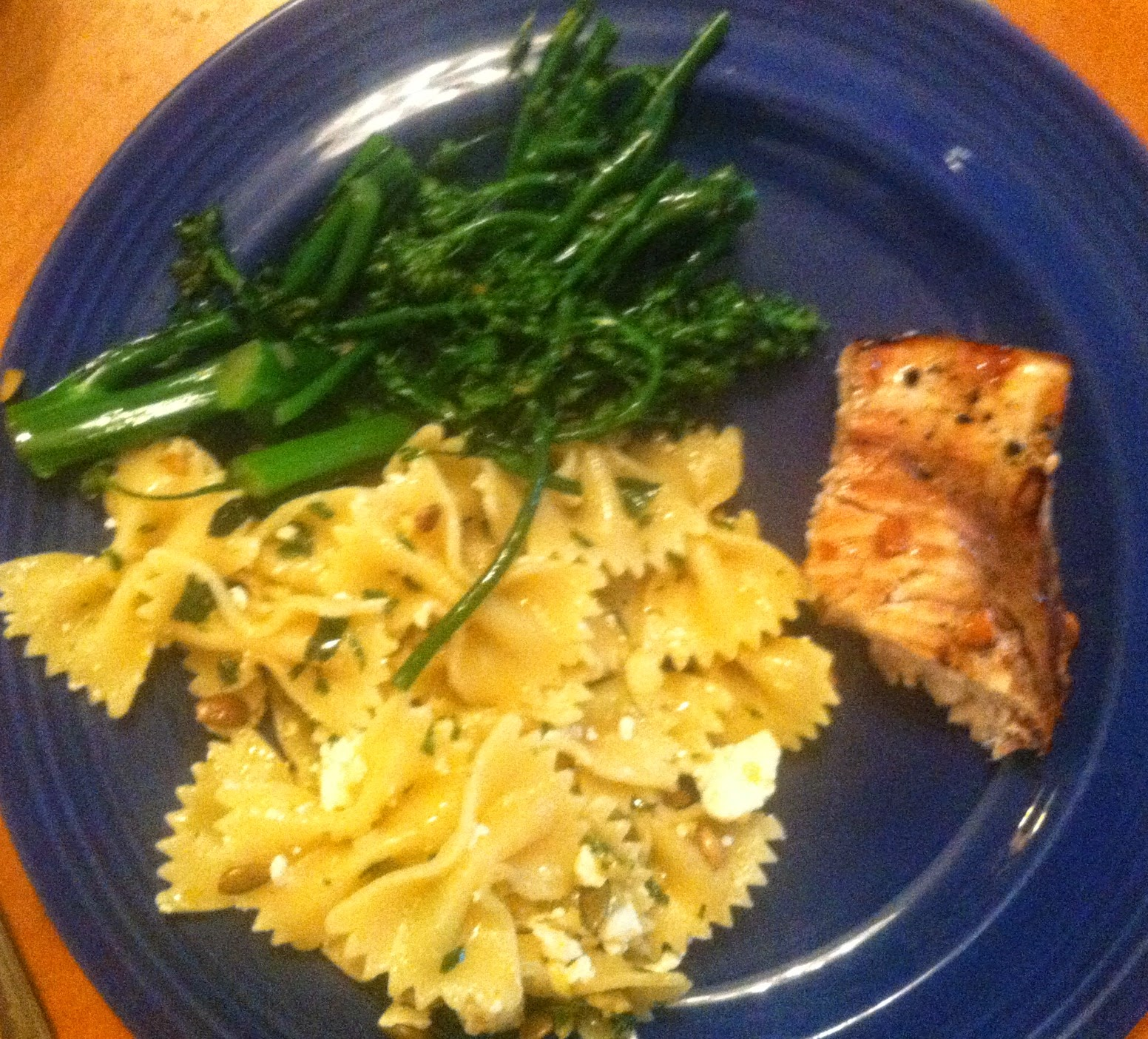 grilled swordfish with bowtie pasta and baby broccoli. Healthy & tasty!