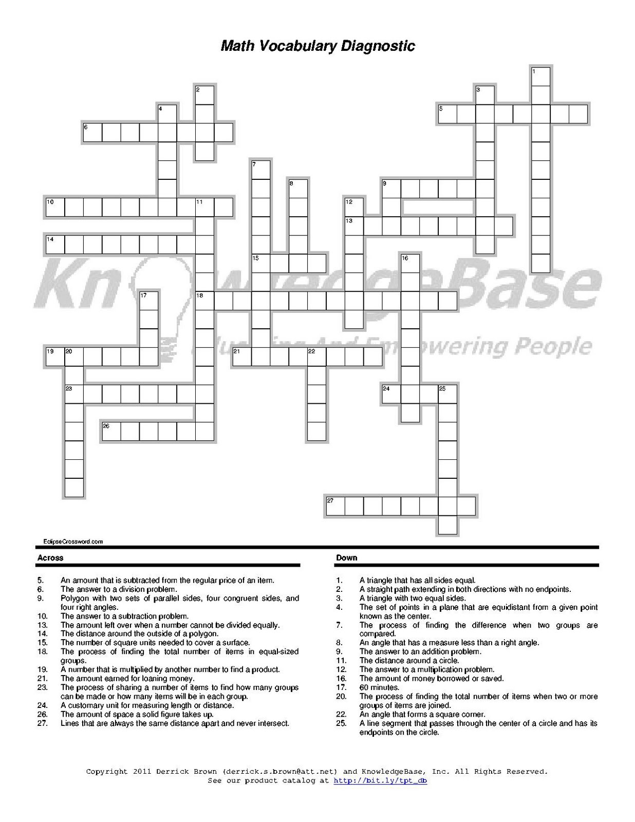 Maths Crossword Puzzle With Solution aprita – Math Crossword Puzzle Worksheets
