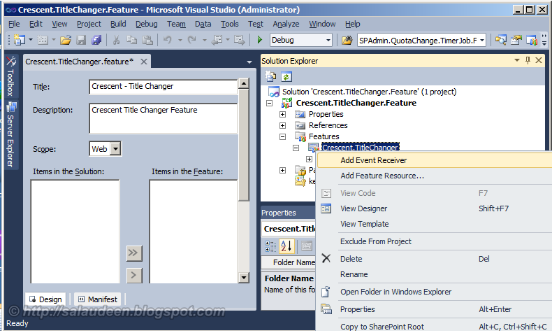 how to create a feature for sharepoint 2010