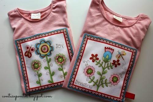 camisolas com aplicações em tecido