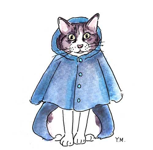Raincoat and Cat by Yukié Matsushita