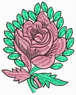 pienk en groen kleur roos blom appliekwerk