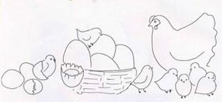 riscos para pintura de galinhas e pintinhos