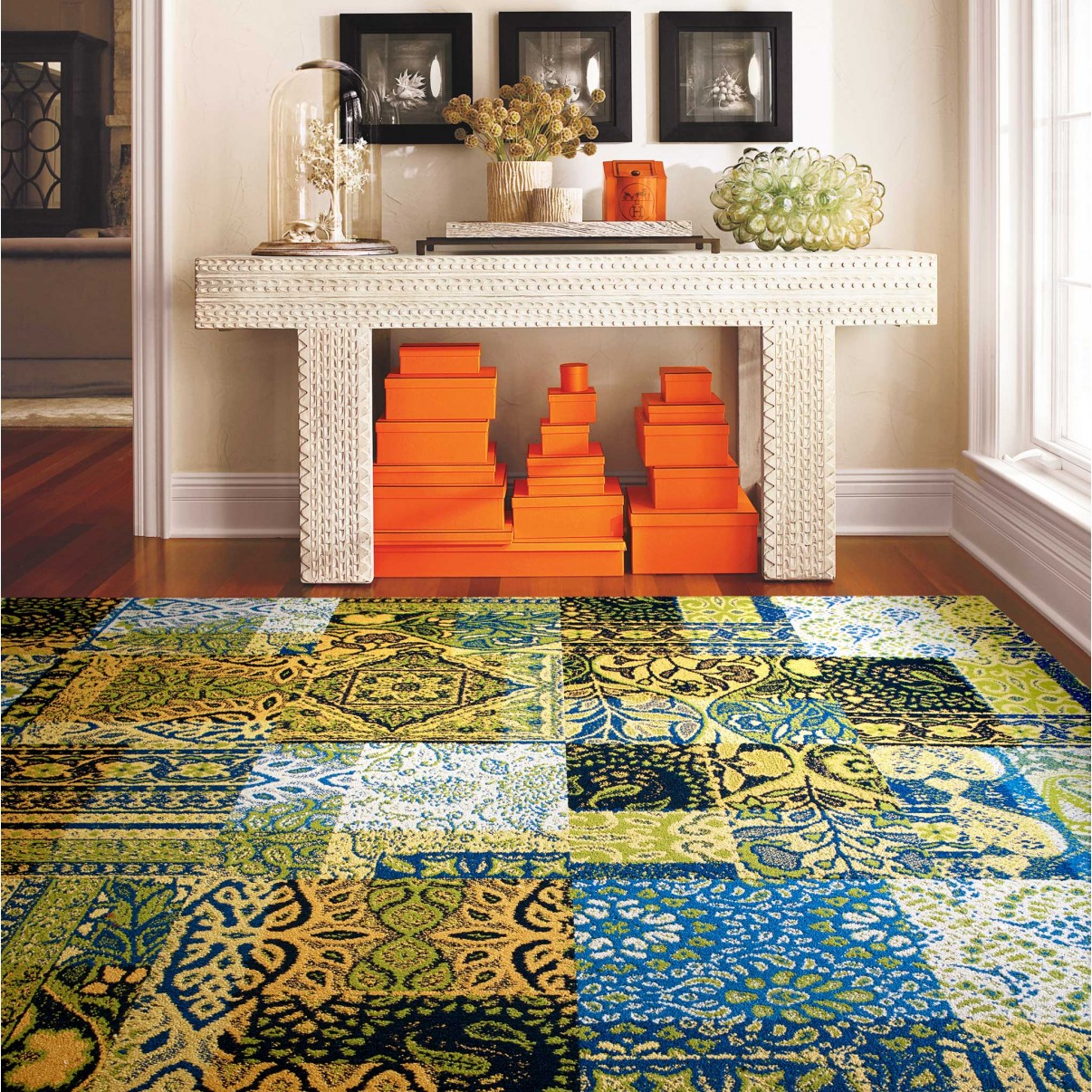 contemporary space with FLOR rug tiles