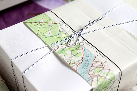 map wrapping paper idea with striped twine from Concertina Press