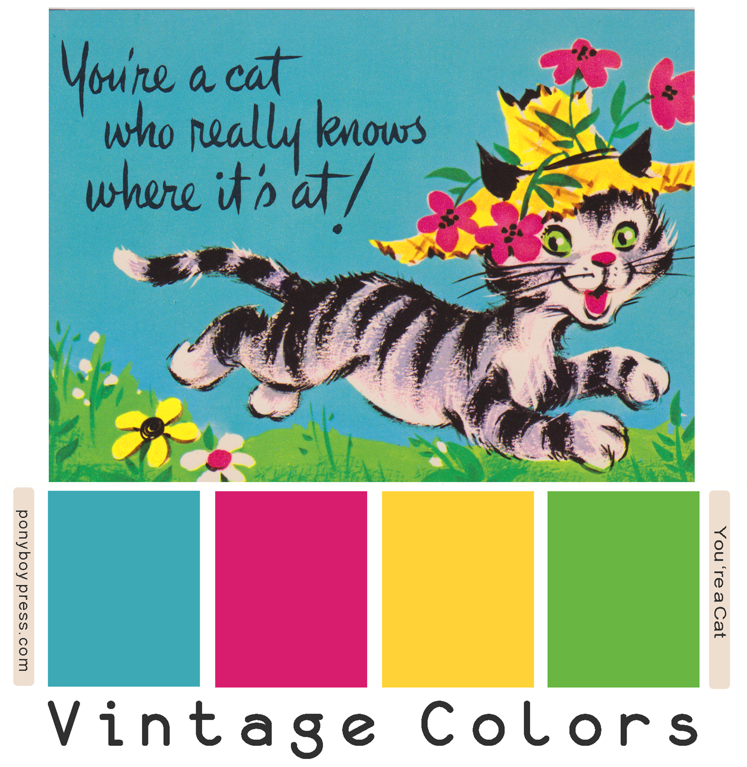 Vintage Color Palettes - Circa 1970 Cat postcard - Ponyboy Press blog