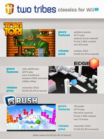Promotional image announcing Two Tribes classic games Toki Tori, EDGE, and RUSH are coming to the Wii U, with release dates and initial pricing information
