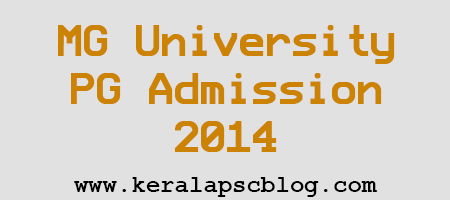 MG University PG Admission 2014