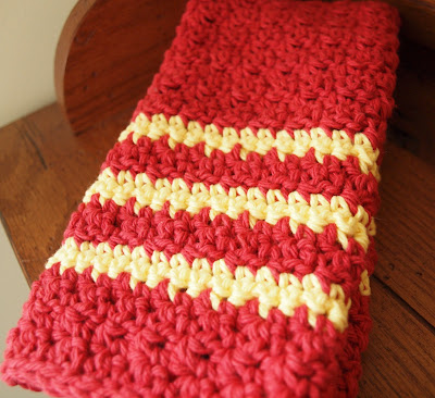 crocheted dish towel