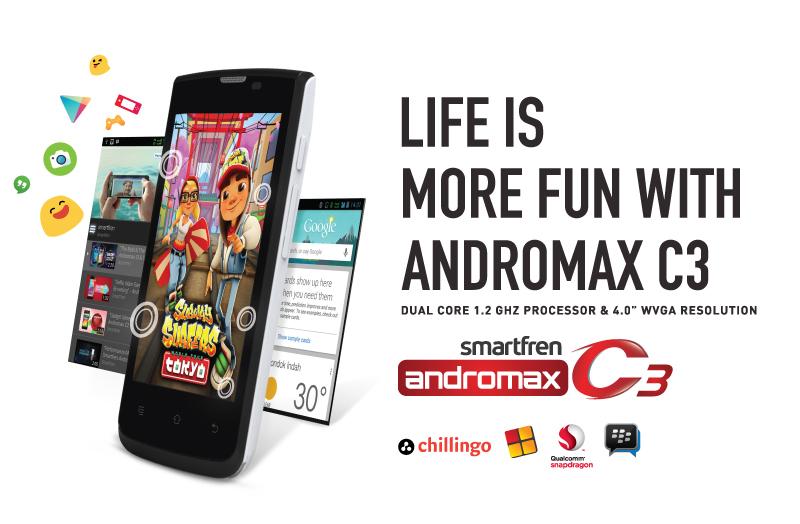 Spesifikasi Smartfren Andromax C3, Android KitKat Murah 500 Ribuan