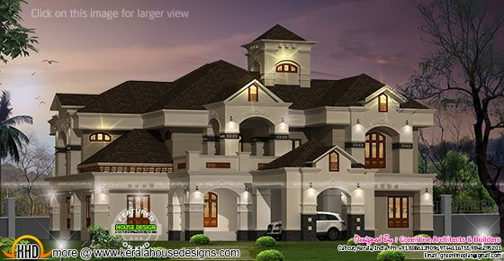 Luxurious kerala villa kerala home design and floor plans for Colonial style house plans kerala