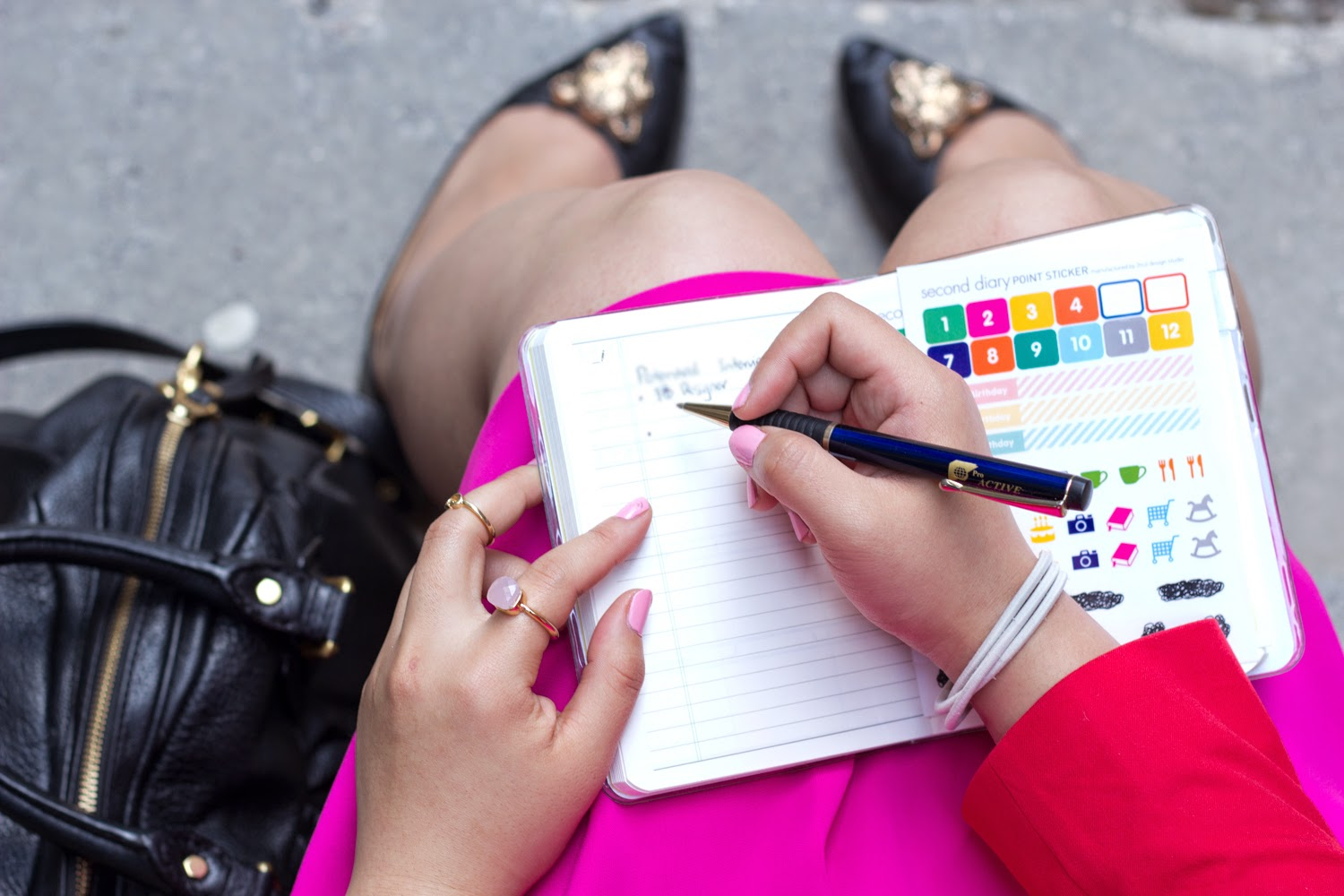Hot-Pink-Skater-Skirt, colour-blocking, note-book