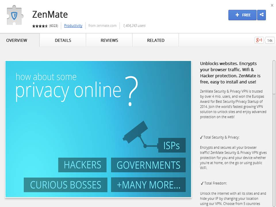 Zenmate Add-on Extension facebook twitter social network
