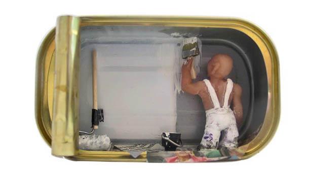 Home sweet home - Arte em latas de sardinhas - Nathalie Alony