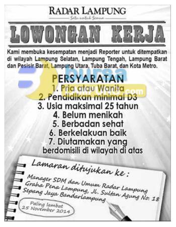 Lowongan REPORTER Radar Lampung