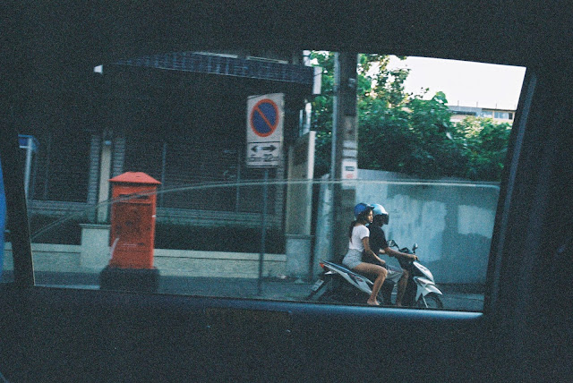 Color film Photography Bangkok out taxi window
