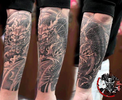 Chinese dragon tattoo on the arm