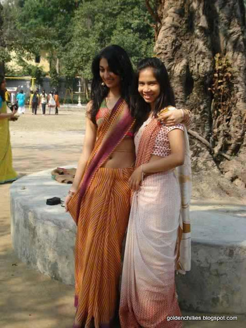 hot college girls saree show in college function photos