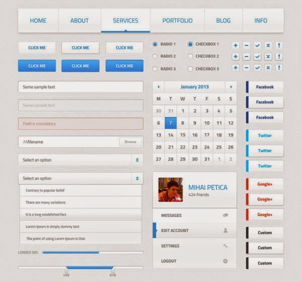 Light Web UI Kit PSD